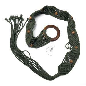 Old Navy Macramé Boho Green Bead Wood Tassel Belt